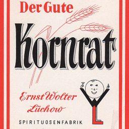 Altes Etikett einer Flasche Kornrat von Ernst Wolter Lüchow