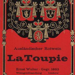 Altes Etikett für eine Rotweinflasche von LaToupie