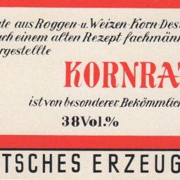 Altes Etikett eines Kornrat Schnapps von Ernst Wolter Spirituosenhandel